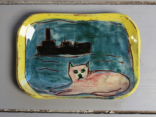 Pink cat and trawler postcard plate