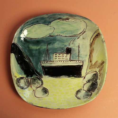 The Big Ship Glimpsed From The Beach Square Platter