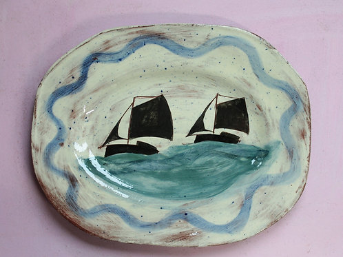 Two Ships with Blue Wavy Edge Platter