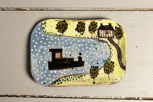 House and Trees Postcard Plate