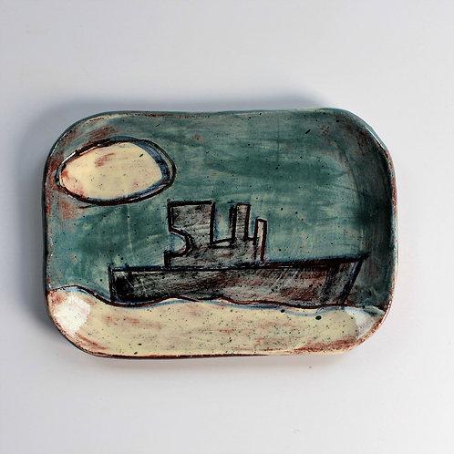 Fishing Boat postcard plate