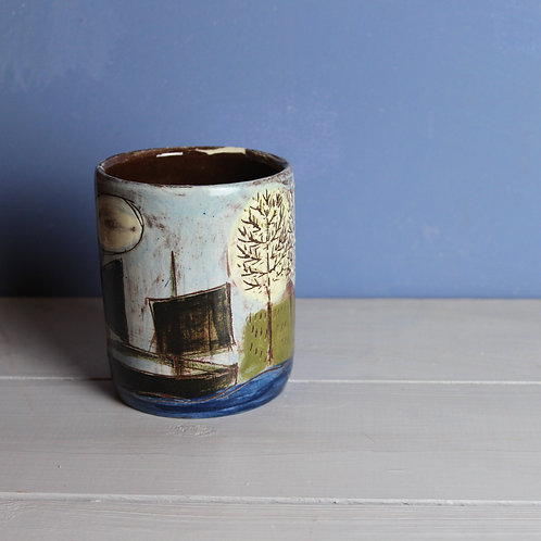 Ship and House Sgraffito Story Pot