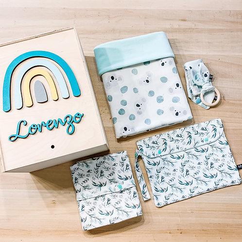 Welcome baby box - Set Nascita + Copertina Bamboo + Portapannolini + Fasciatoio