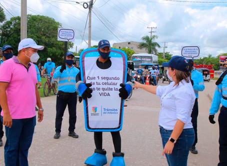 'Que un segundo de tu celular no te quite la vida': campaña de prevención vial en el Atlántico