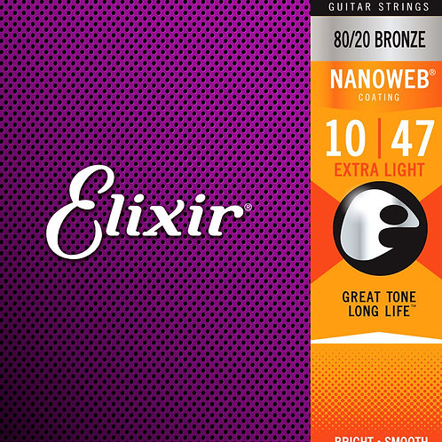 Elixir 11002 10/47 Nanoweb Coated Acoustic Guitar Strings