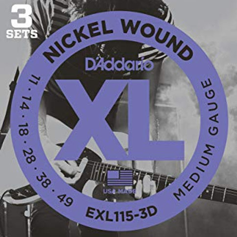 D'Addario EXL115-3D Nickel Wound Electric Guitar Strings