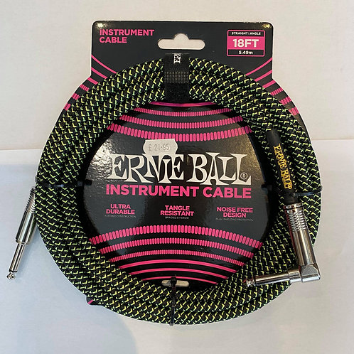 Ernie Ball 5.49M/18FT Instrument Cable Green/Black