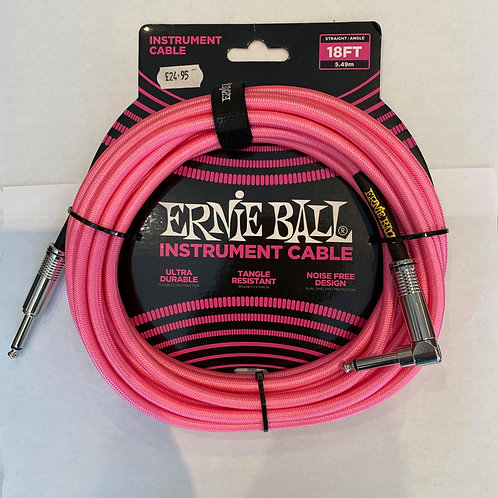 Ernie Ball 5.49M/18FT Instrument Cable Pink