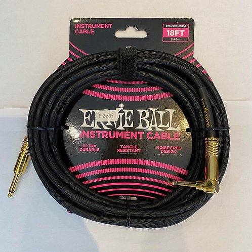 Ernie Ball 5.49M/18FT Instrument Cable Black