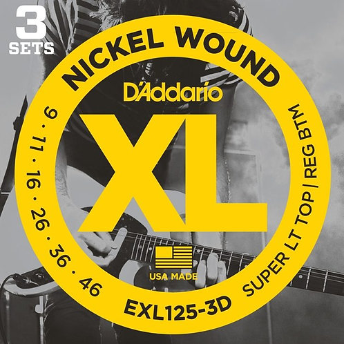 D'Addario EXL125-3D Nickel Wound Electric Guitar Strings
