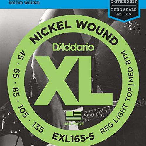 D'Addario EXL165-5 Reg Light Top/MED BTM 5-String Bass Guitar Strings