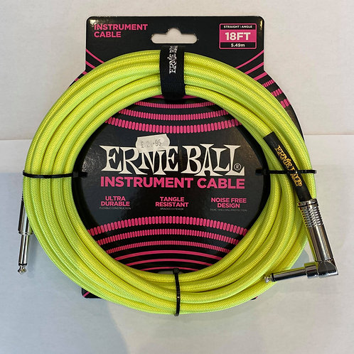 Ernie Ball 5.49M/18FT Instrument Cable Green
