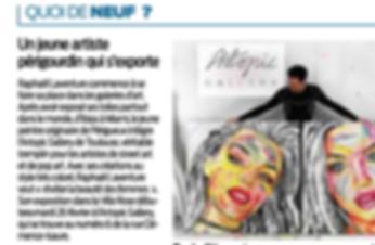 Sud ouest journal Périgueux Raphaël Laventure intègre Artopic Gallry