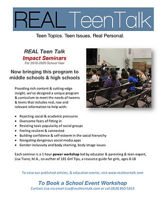 Real Teen Talk Impact Seminar 2019-2020.
