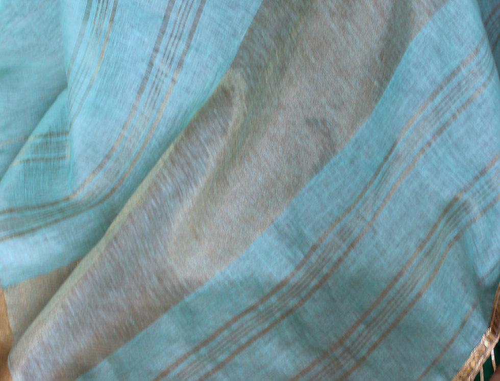 Sea Green Linen Saree