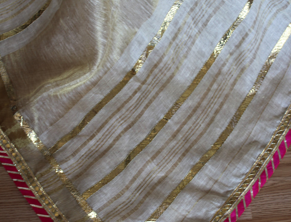 Off-white Linen Saree