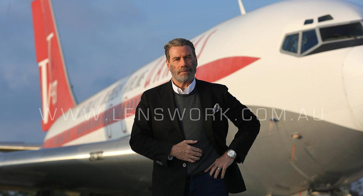 Actor John Travolta and his BOEING 707 QANTAS jet Photo Andy Zakeli for HARS and Bedigo Bank