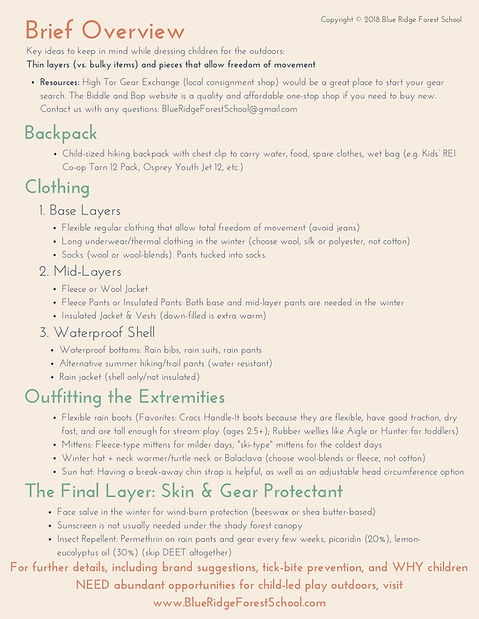 Outdoor Gear Guide Handout for Nature Fe