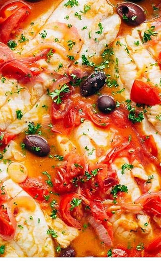 Baked Cod, Tomatoes & Olives Served With Crusty Loaf & Mixed Green Salad
