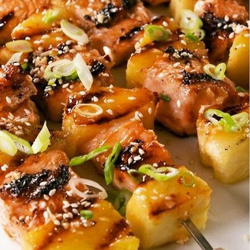 Teriyaki Salmon & Pineapple Skewers Served With Quinoa Salad