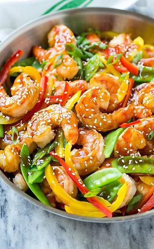 Shrimp & Veggie Stir-Fry Served With Steamed Rice & Won-Ton Soup