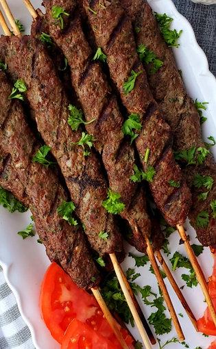 Beef Kafta Kebabs Served With Wild Rice & Fattoush Salad
