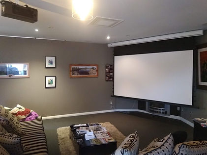 motorized projector screen installation