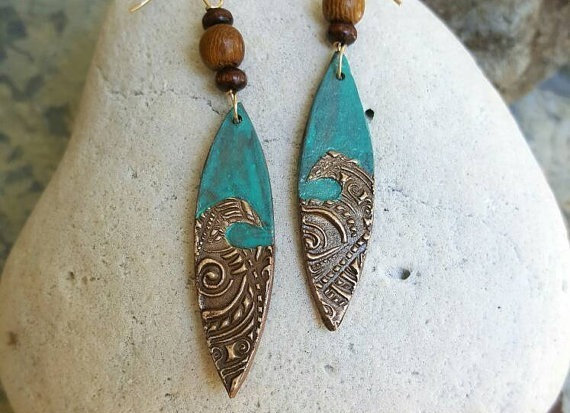 Ocean Earrings Bronze and 14 Karat gold-filled