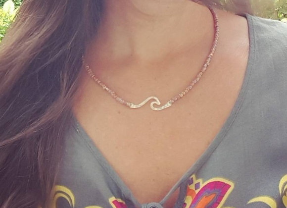 Silver Wave Bar Necklace