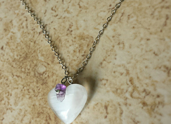 Sold~Selenite and Amethyst Heart on Sterlin