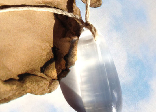 Selenite Crystal Teardrop on natural Hemp