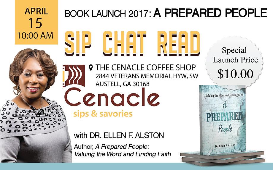 book launch flyer, the cenacle coffee shop, a prepared people, dr. ellen f alston, book launch design