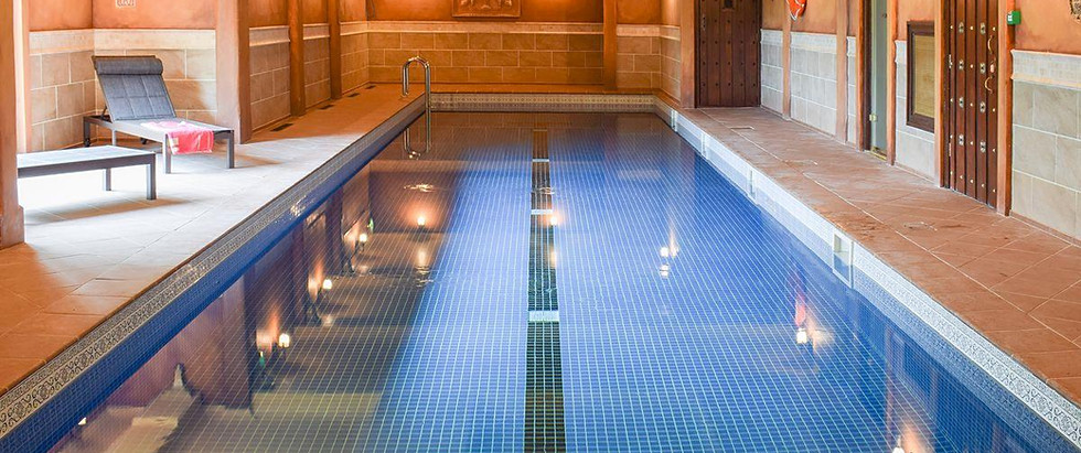 On-site shared heated indoor swimming po