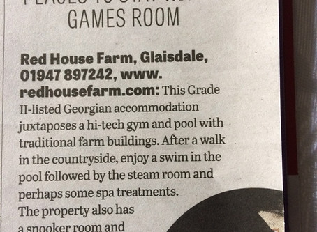 Red House Farm B&B in The Yorkshire Post Today
