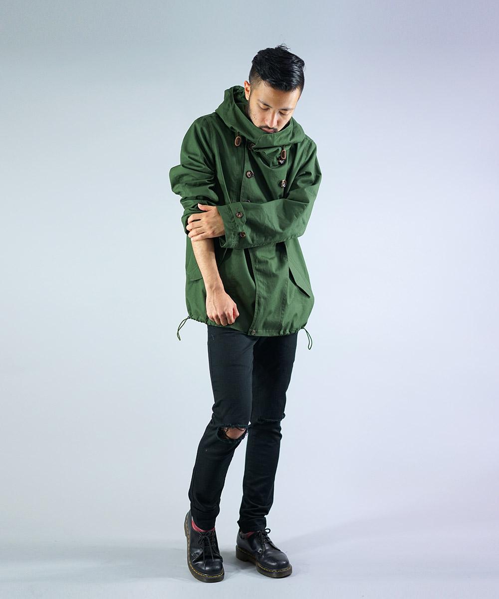 Weather design high neck fooded coat