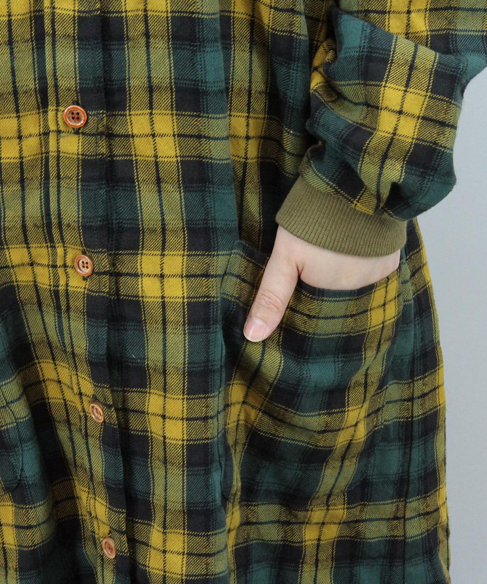 Tartan check long shirt one-piece