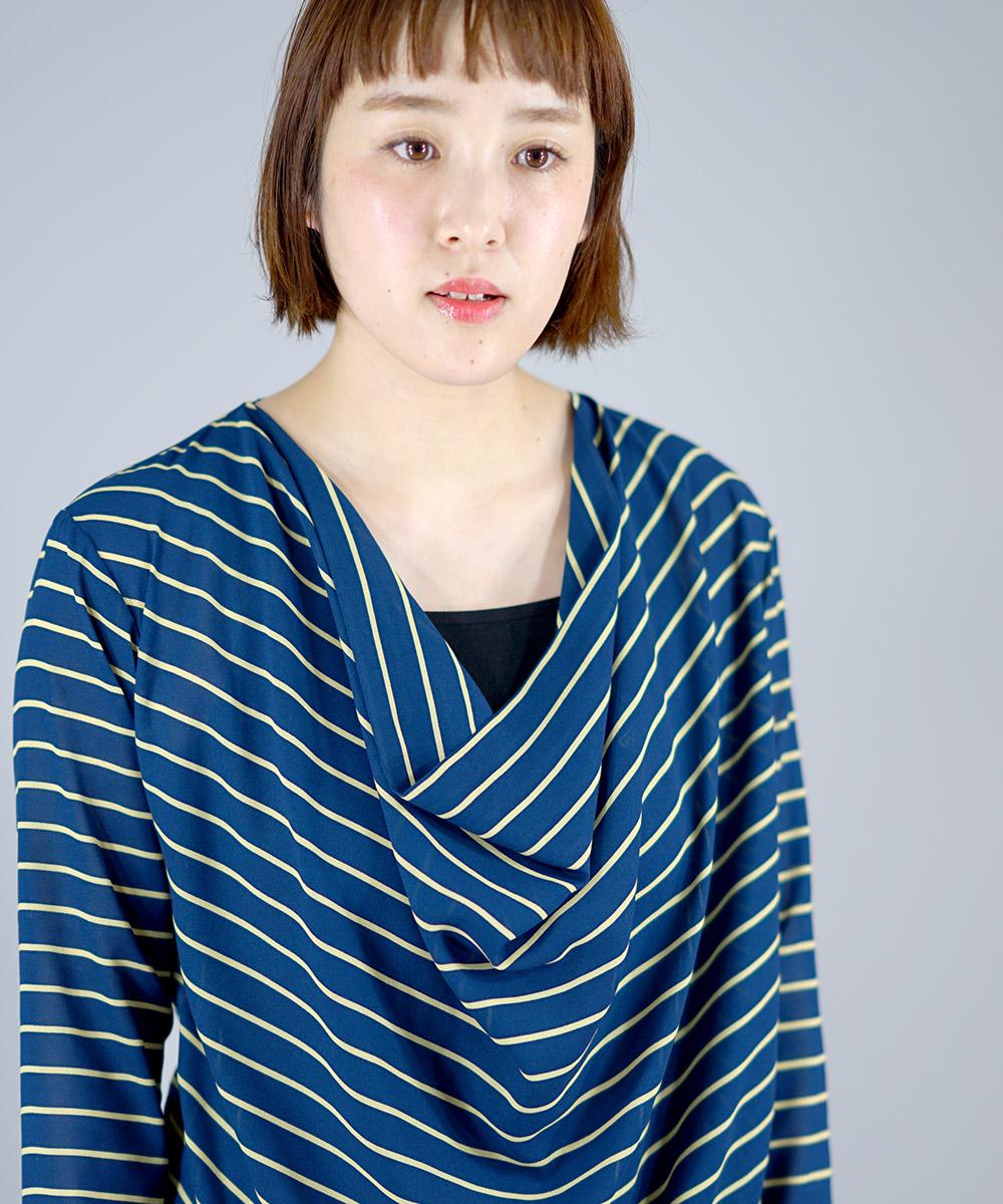 Feminish border chiffon drape pullov