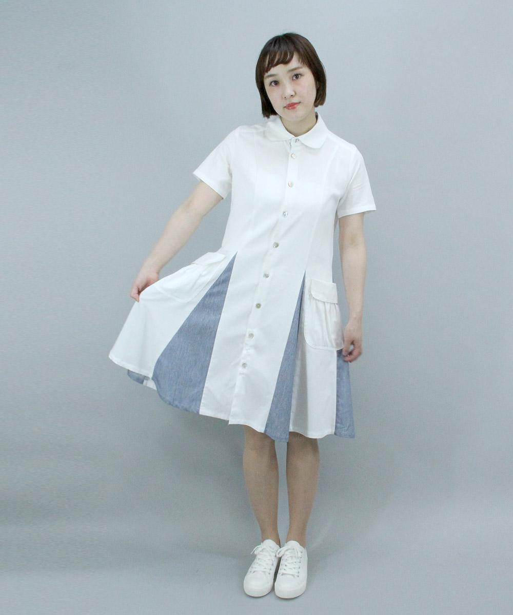 Denim flare shirt one-piece