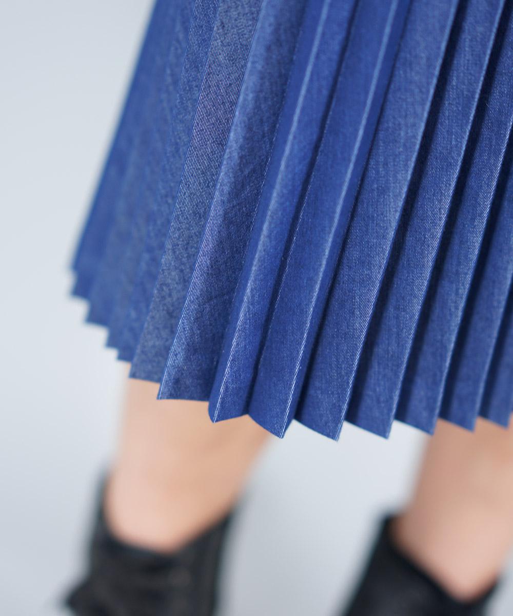 Denim sccordion pleat skirt
