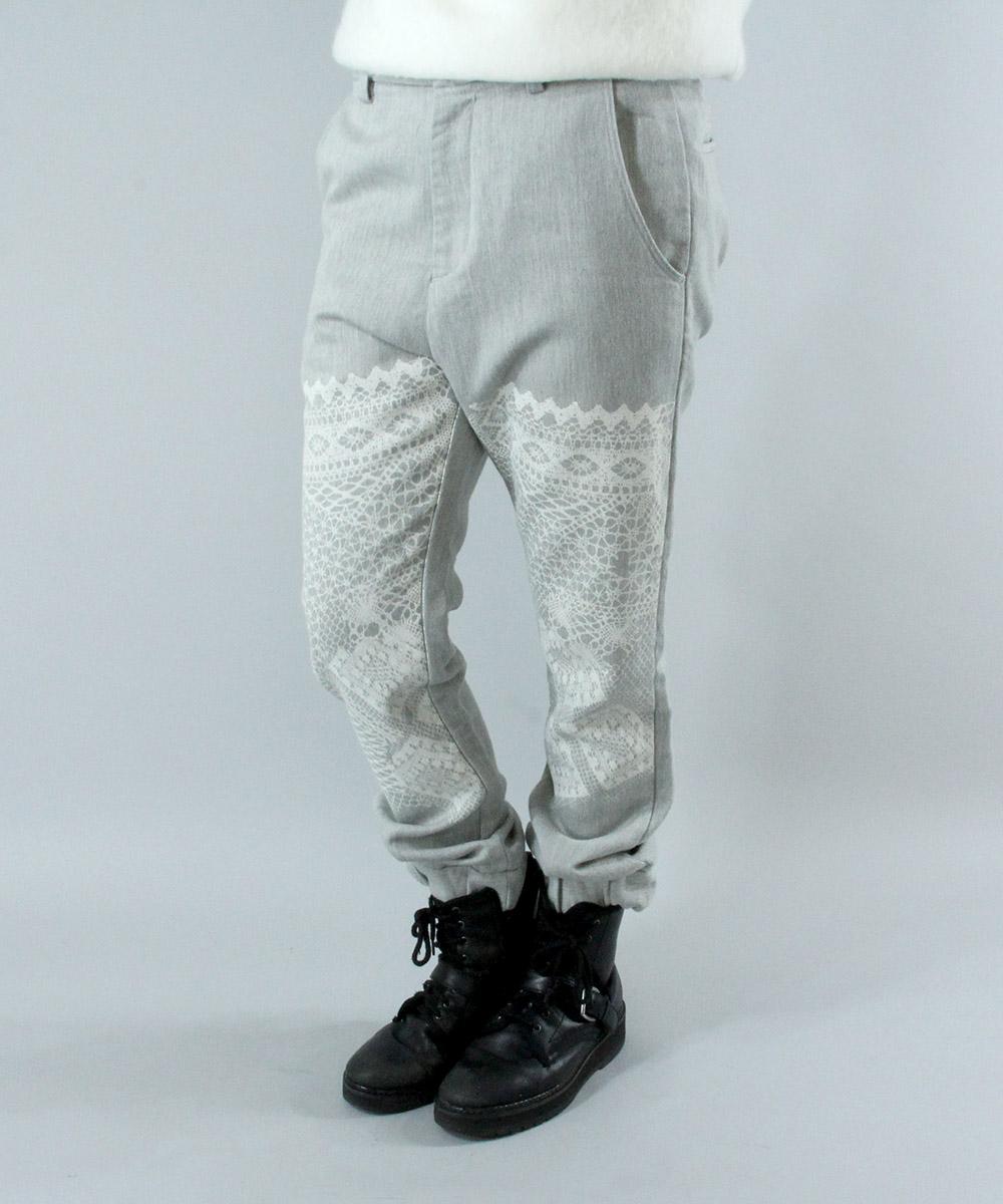 Lace print jogg jeans