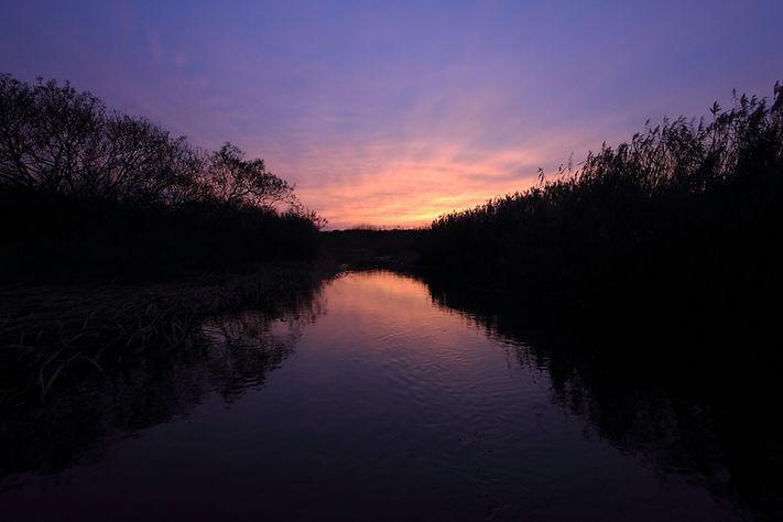 無人の原野に陽が落ちる。 暗い川岸に水面下に、野生の気配を最も濃厚に感じる時間帯だ