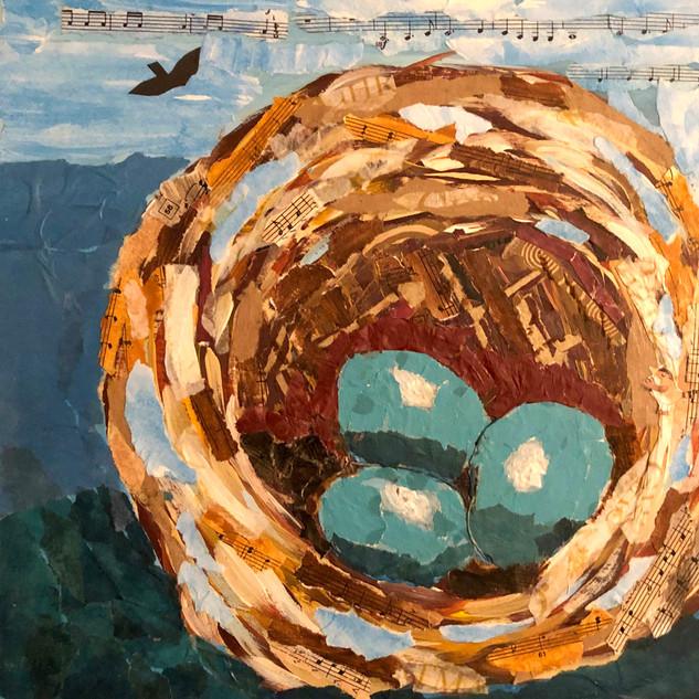 Lynn Scott, Bird's Nest, Torn Paper Collage Workshop with Jane Barefoot Rochelle