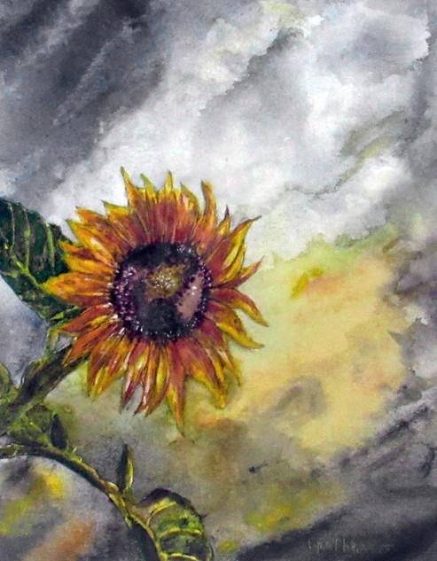Lynn Scott, Sunflower, Watercolor with Perri Mason