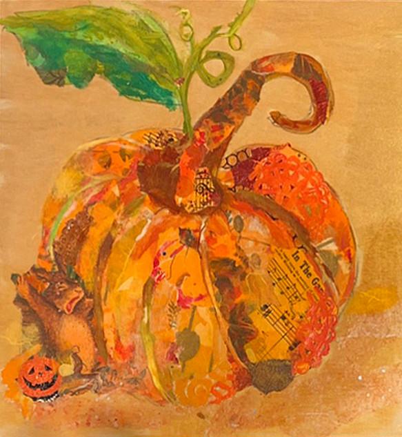 Martha Coulson, Pumpkin Patch Rabbit, Torn Paper Workshop with Jane Barefoot Rochelle