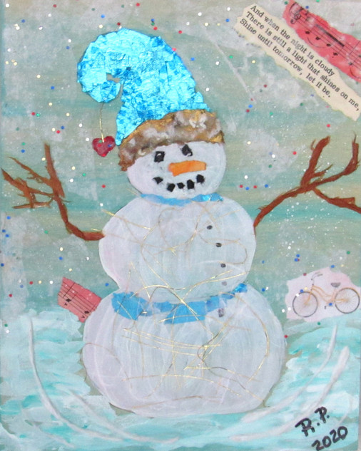 Robin Pribble, Snow Fun, Torn Paper Collage Workshop with Jane Barefoot Rochelle
