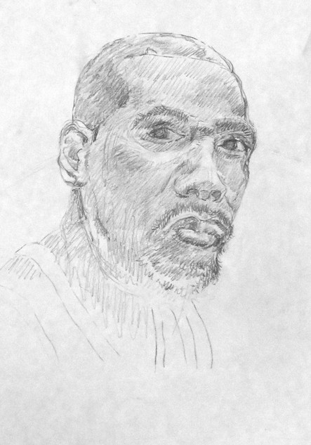 Lennie Richarson, Portrait of Man, Drawing with Suzanne V Paddock
