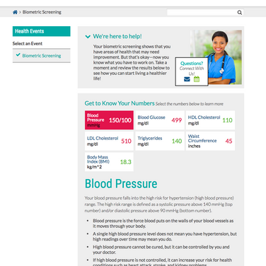 Biometric Screening Page
