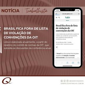 Brasil fica fora de lista de violação de convenções da OIT
