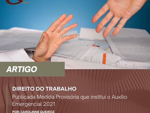 Publicada Medida Provisória que institui o Auxílio Emergencial 2021