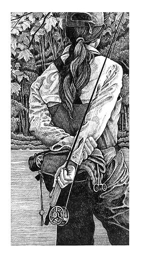 Fly Girl, fly fishing, fishing, ink, ink drawing, drawing
